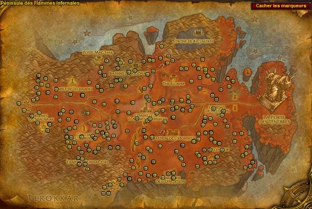 Spots de minerais de gangrefer à la péninsule des flammes infernales