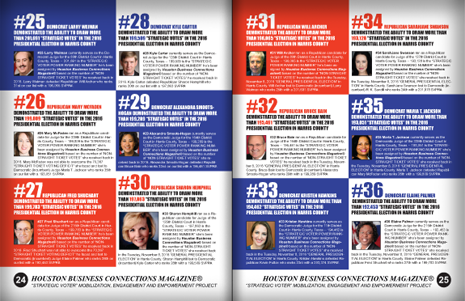 "PAGES 24 AND 25 - HOUSTON BUSINESS CONNECTIONS MAGAZINE© ""STRATEGIC VOTER"" MOBILIZATION CAMPAIGN"