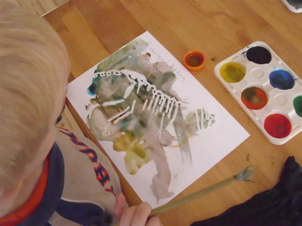 Dinosaur arts and crafts - Preschool Or Tot School Craft Idea Painting Dinosaurs And Dinosaur Bones