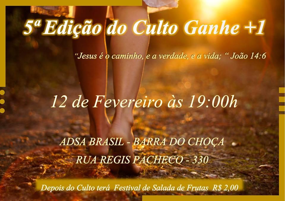 CULTO GANHE +1