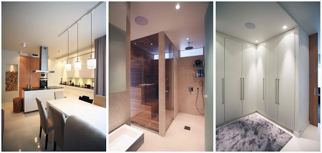 Kolme kuvaa nykyisestä kodistamme (keittiö, kylpyhuone/sauna ja vaatehuone)