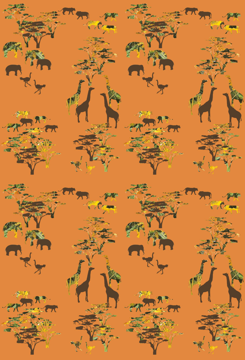 Alishia ward african animals wallpaper design wrapping for Design home gift paper inc