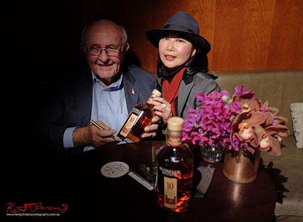 Master distiller Jimmy Russell signs a Russell's Reserve 10 Year Bourbon for Vivienne - vivalaViv at Grain Bar Sydney. Photography by Kent Johnson.