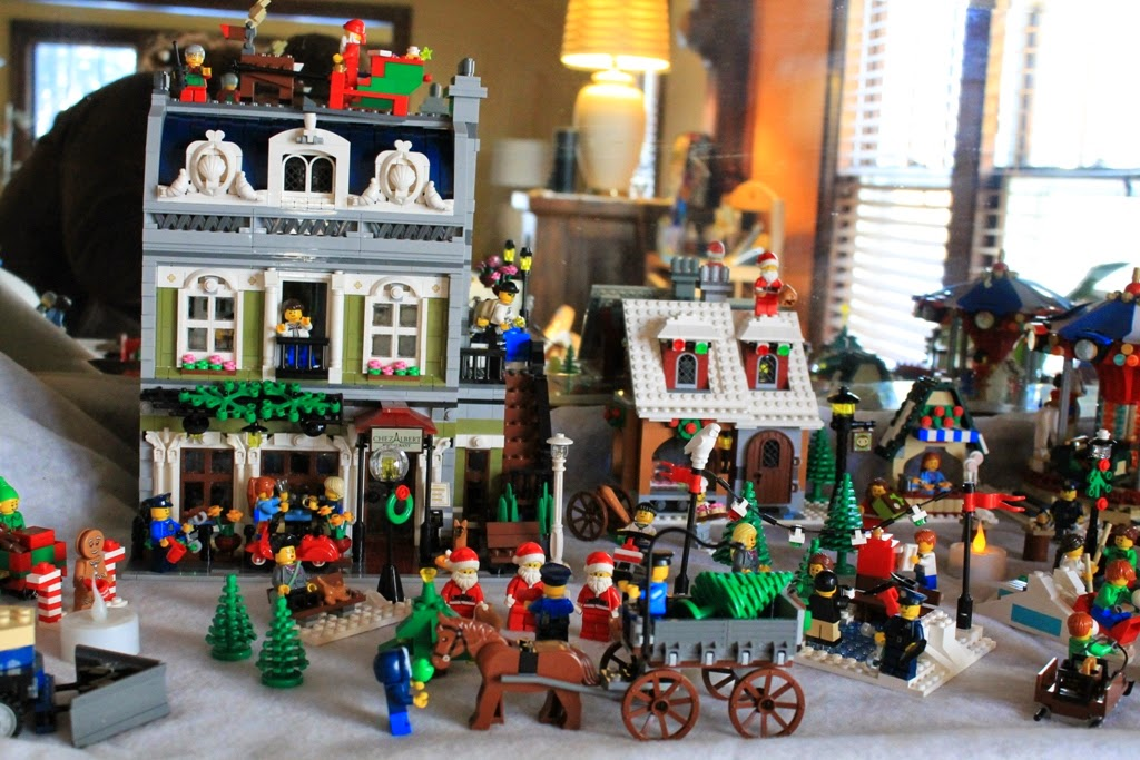 Winter village made from Lego building sets and minifigures.