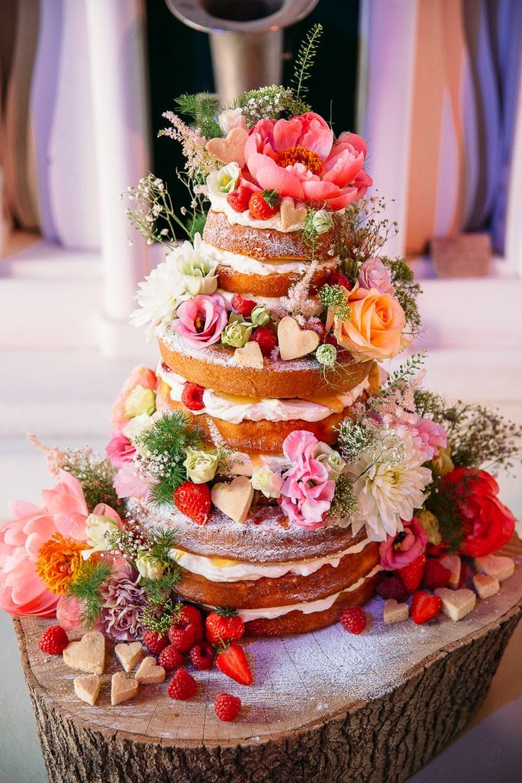 spring naked wedding cake