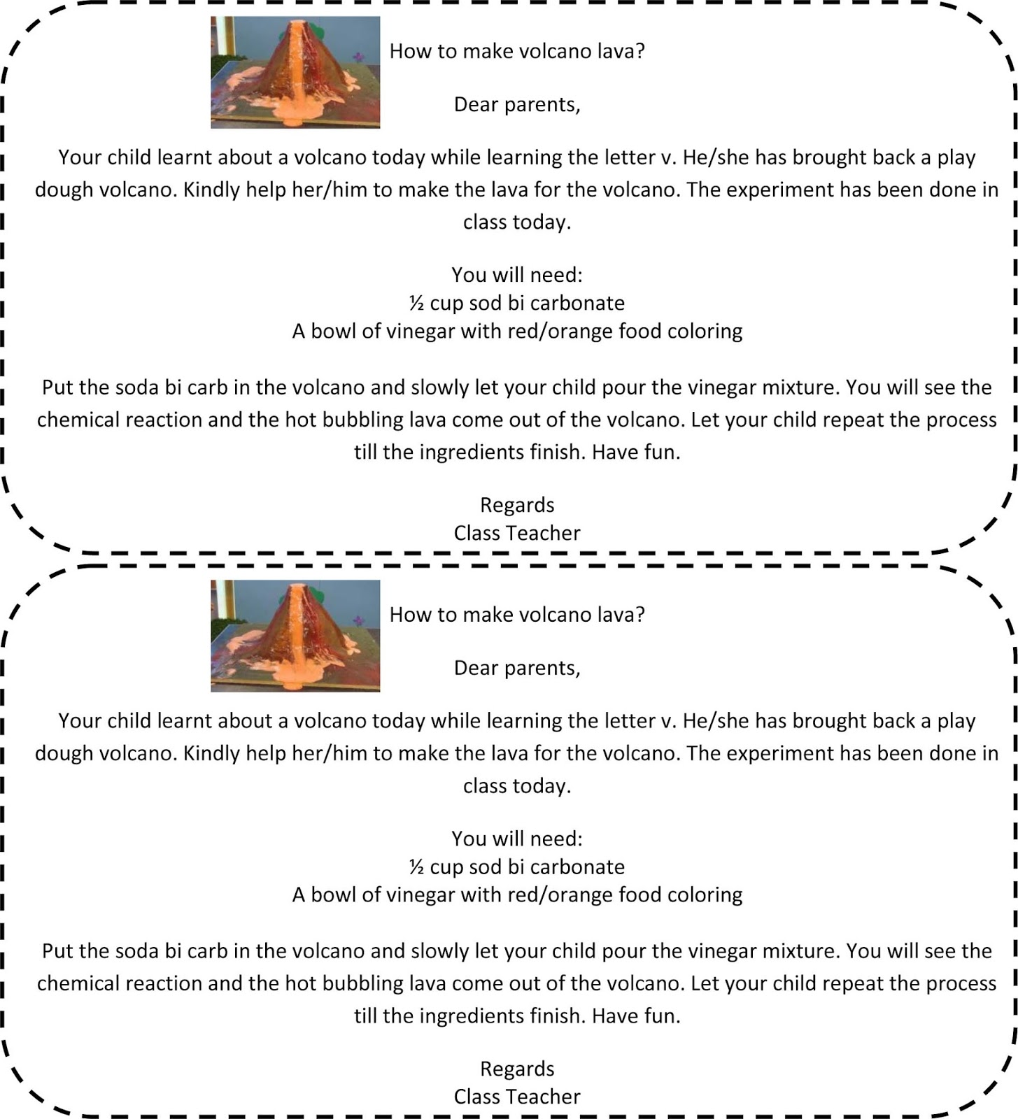 I Send A Note Home Explaining How The Lava Can Be Made Download The Note By