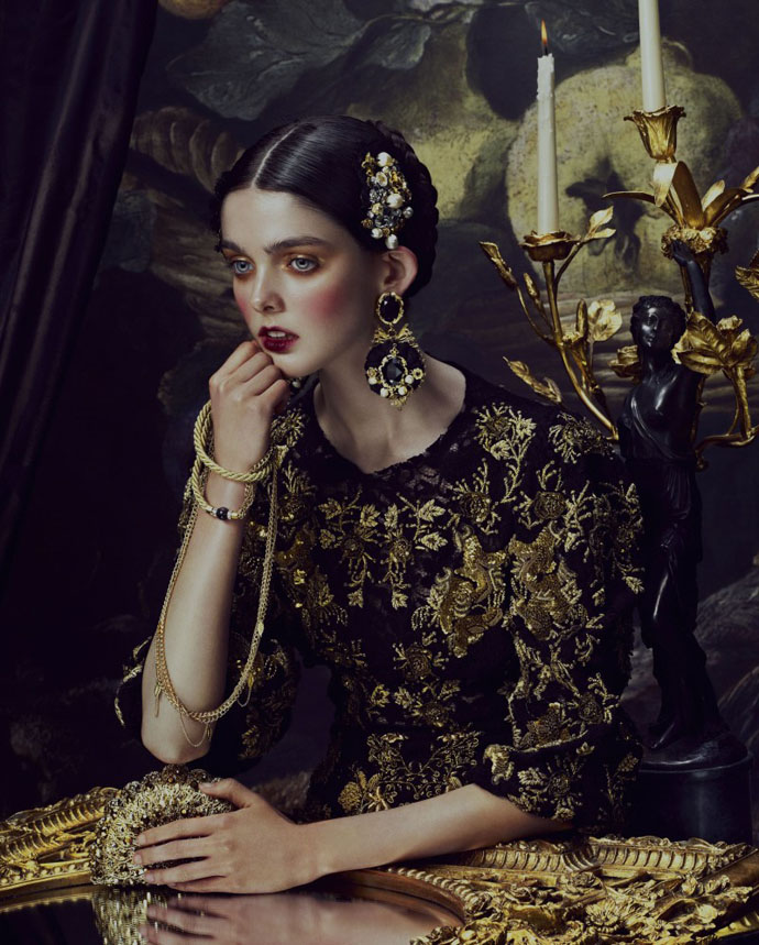 A fashion photoshoot inspired by the baroque trend for How To Spend It Magazine, Starring Nina Porter, Laura O'Grady, Louisa Facchino-Stack, Mary Ballantyne, Edda Oscars, Keira, Elenor Hayes, Sam Rollinson shot by Andrew Yee, Styling by Damian Foxe