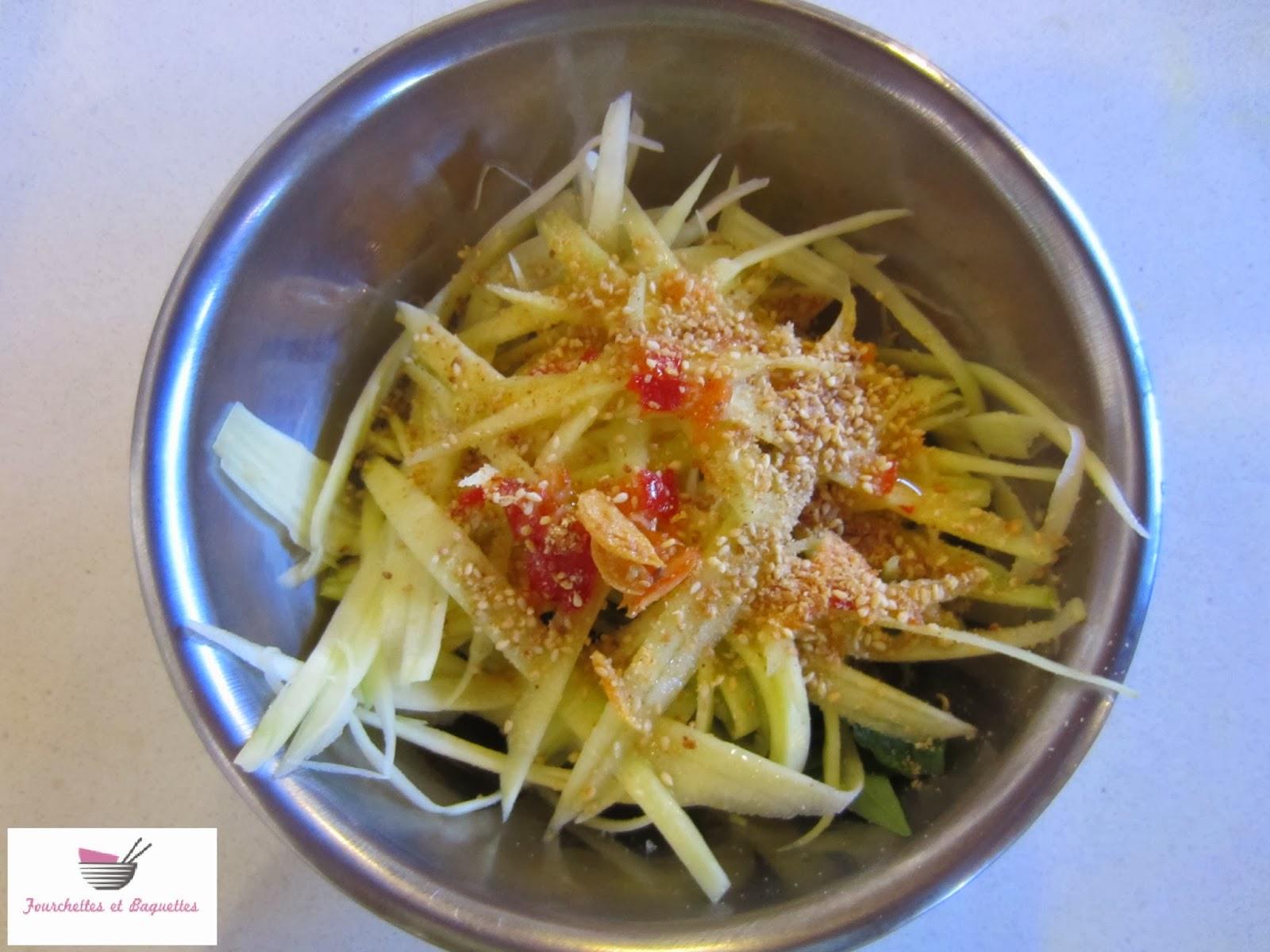 Fourchettes et baguettes salade de mangue verte vietnamienne for Salade pour accompagner poisson