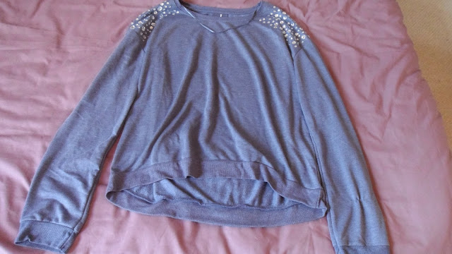 Primark studded shoulder purple jumper