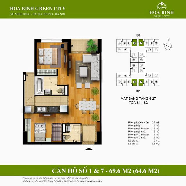 Mặt bằng căn 1 - 7 chung cư Hòa Bình Green City