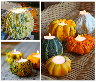 Fall and Thanksgiving decorating ideas, not bored out of my gourd, gourd candles, carving gourds and mini pumpkins for elegant fall ambiance with t-lights