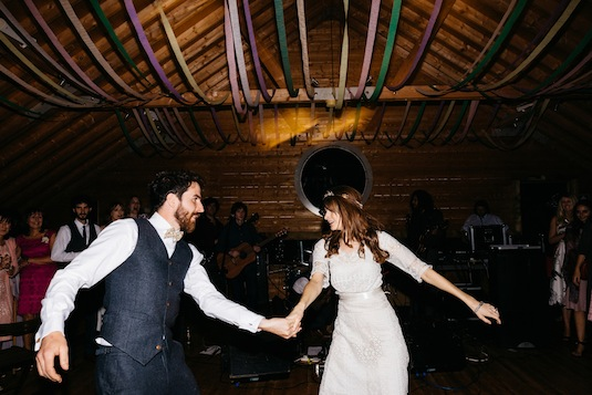 Edwardian lace wedding dress - vintage bride Ruth dancing with groom Conor