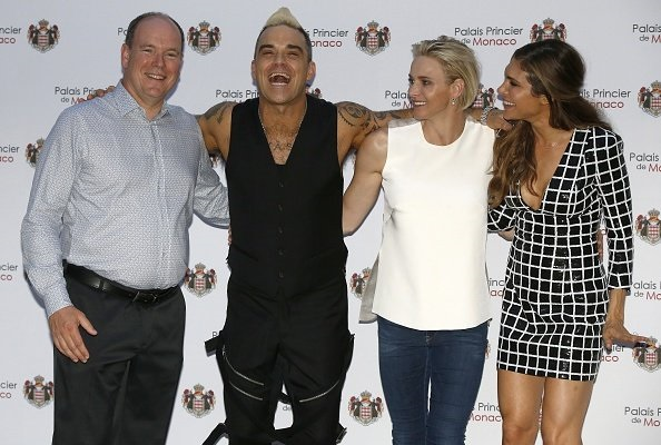 Prince Albert II of Monaco, British singer Robbie Williams, Princess Charlene of Monaco and Williams' wife Ayda Field
