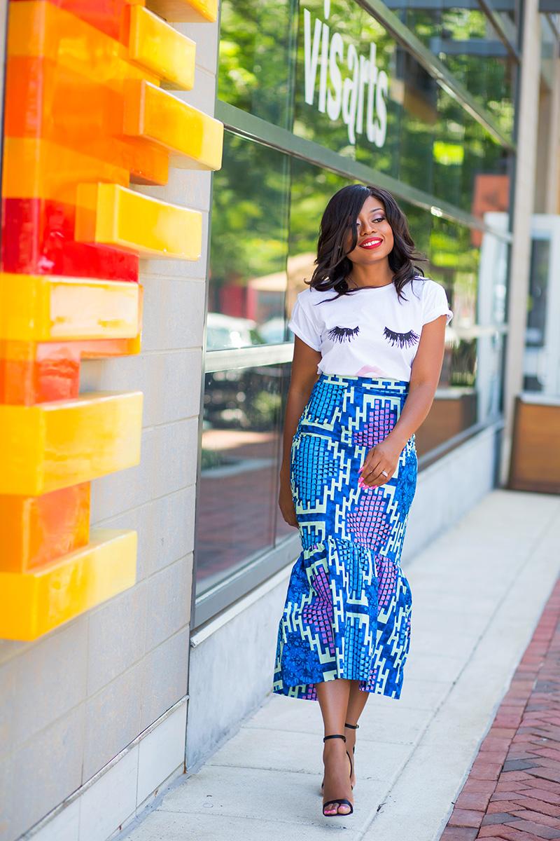 Graphic tee and African print peplum skirt