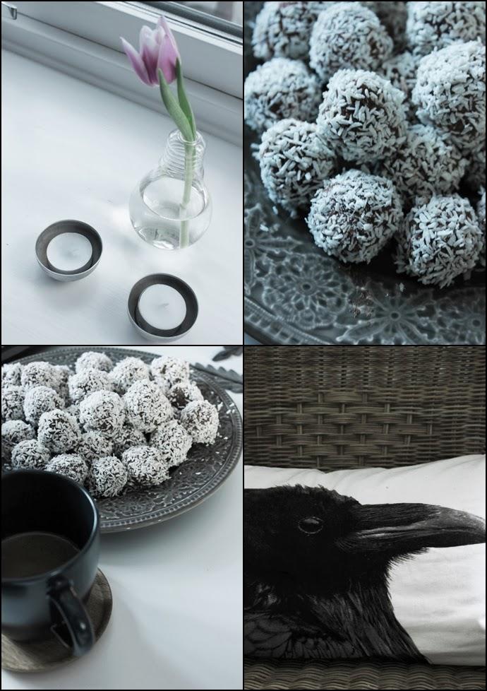 vas glödlampa, koppar för värmeljus, chokladbollar, collage detaljer, tulpan, kaffekopp