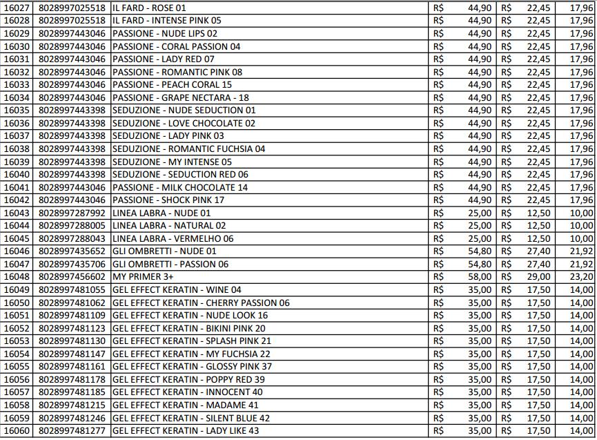 Muito Produtos Hinode Cosméticos: Tabela de preço hinode GV08