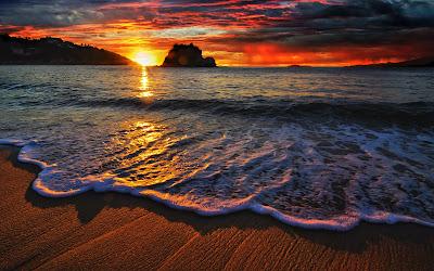 Playas paradisiacas al atardecer