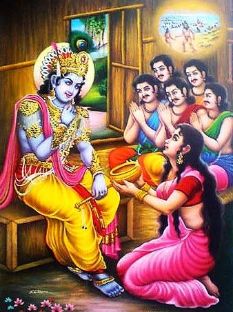 Shri Krishna, Draupadi and Pandavas
