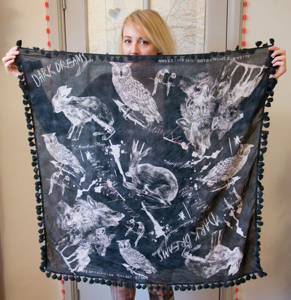 All Saints scarf with animal illustration