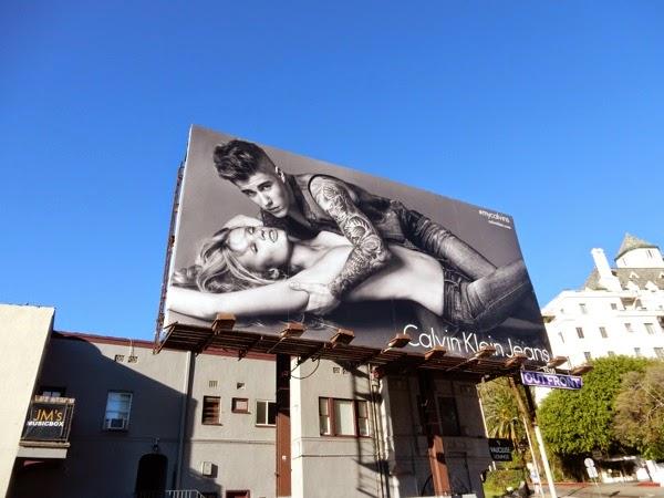 Calvin Klein Jeans Justin Bieber and Lara Stone billboard