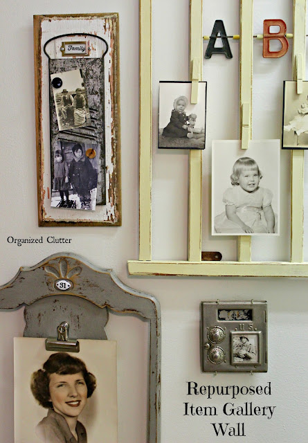 Repurposed Junk Photo Gallery Wall www.organizedclutter.net