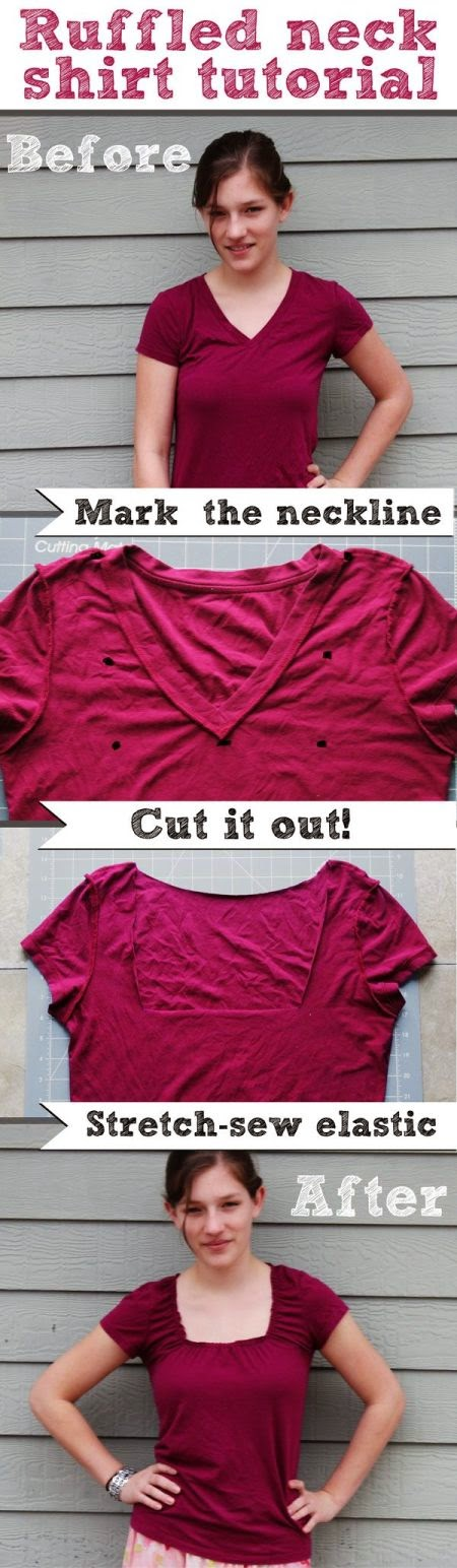 Ruffled Neck DIY T Shirt Steps - Magrush.com