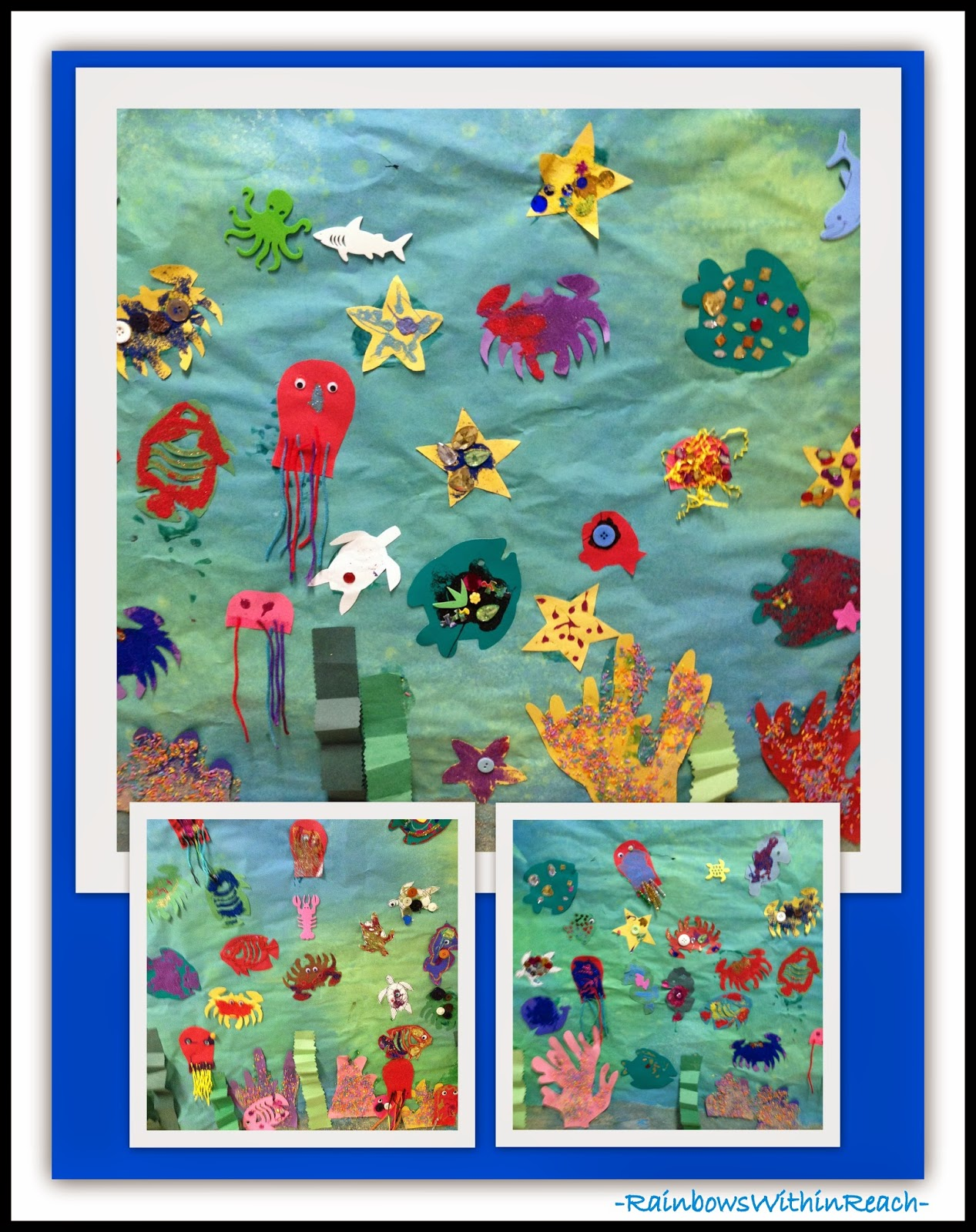 Ocean Themed Collaborative Mural {Ocean RoundUP at RainbowsWithinReach}