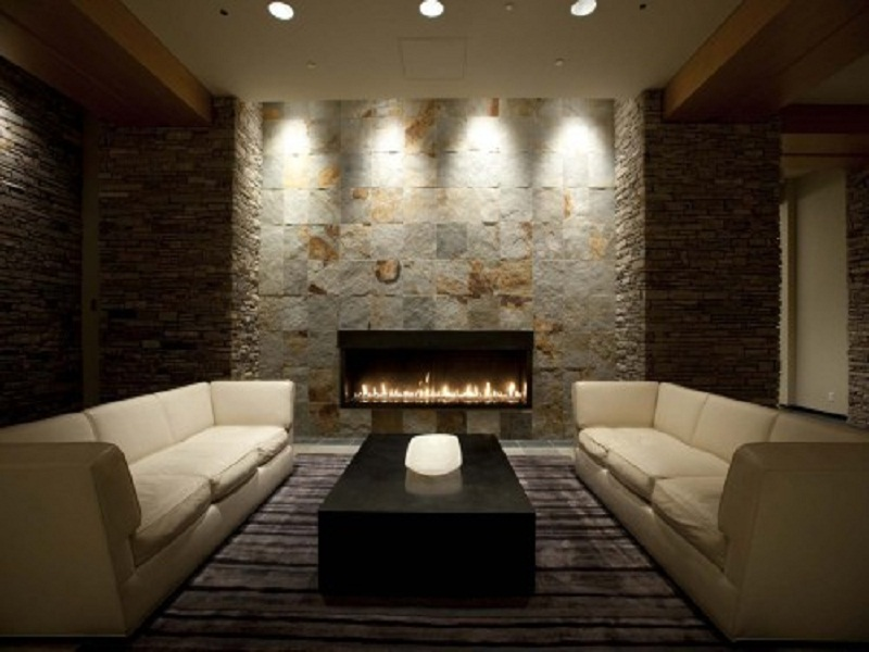 Stone wall gas fireplace magic home pinterest for Luxury fireplace designs