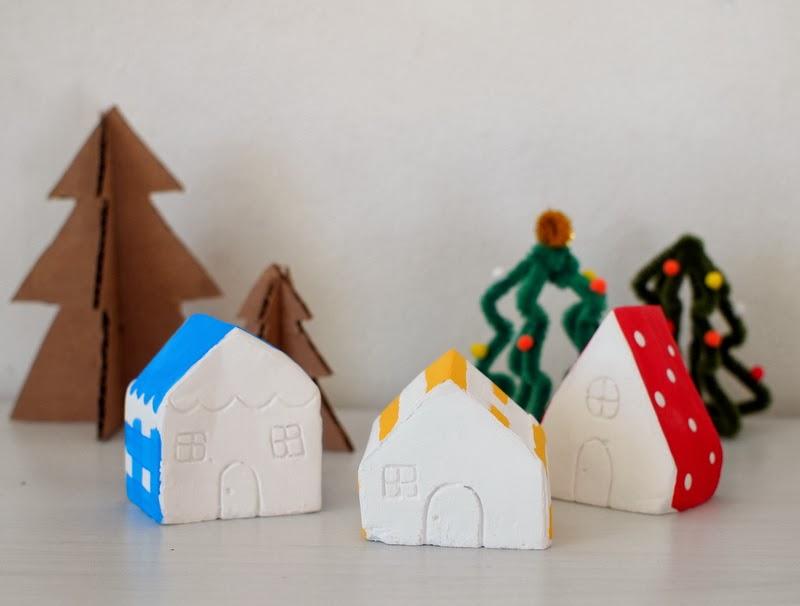 Diy Mini Plaster Of Paris Christmas Village Pink Stripey Socks