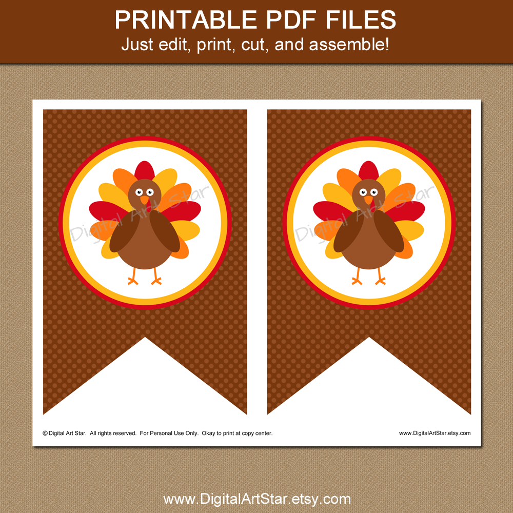printable turkey Thanksgiving banner spacer pages