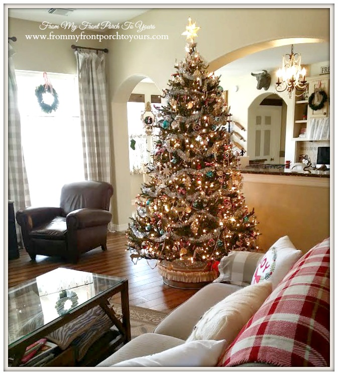 Christmas Tree-Farmhouse Vintage Christmas Living Room- From My Front Porch To Yours