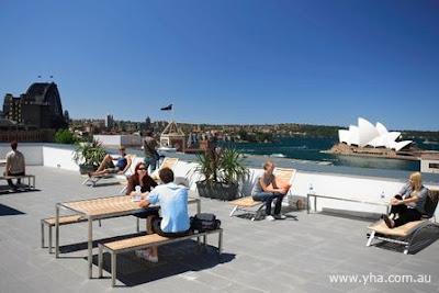 Roof terrace at YHA Sydney Harbour views of Sydney Harbour Bridge and Sydney Opera House