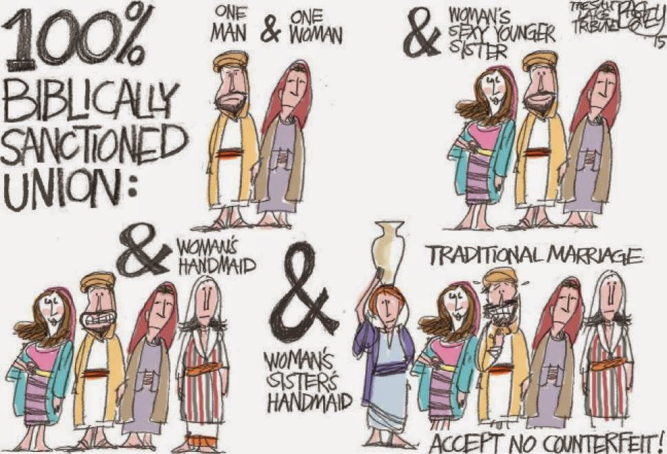 Types of Marriage sanctioned in the Bible:  One man, one or more women.