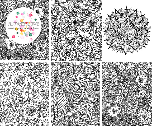 ive got a new set of coloring pages called flower love many of them pictured in this post you can find then over in the shop here