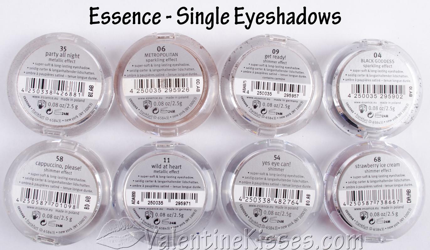 Valentine Kisses: Essence Single Eyeshadows - 8 shades - pics ...