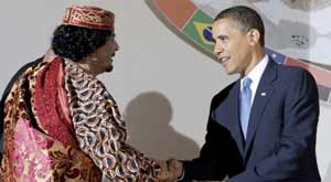 Muamar el Gadafi y Obama