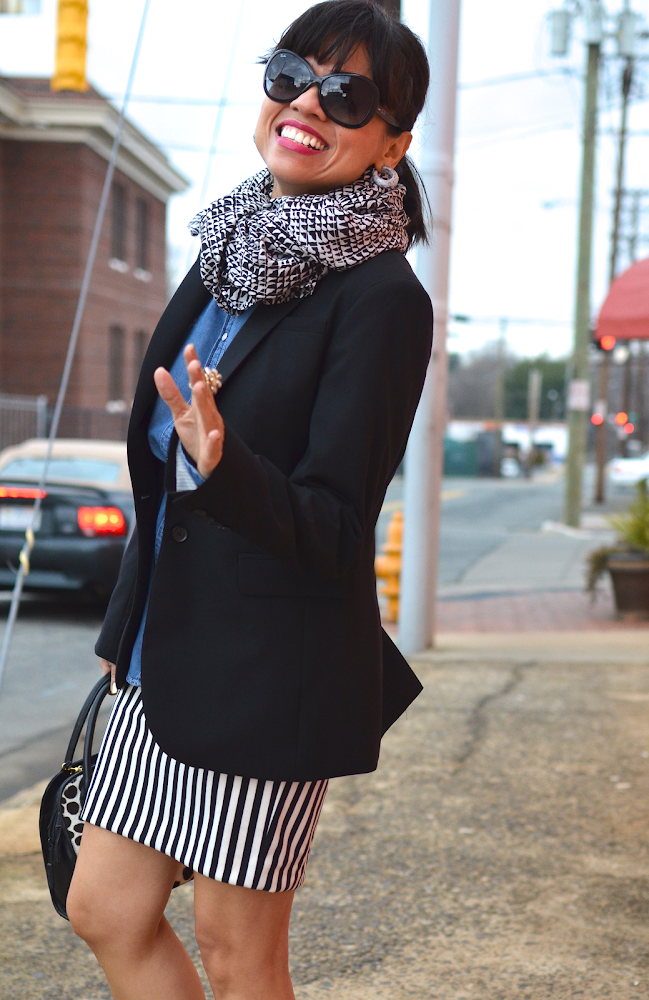 Black and White Scarf Striped Skirt
