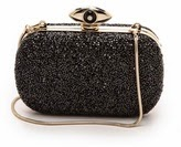 DVF black glitter clutch, Diane von Furstenberg black evil eye shoulder bag, evil eye clutch purse, DVF eye clutch, women's designer black clutch, holiday black rhinestone purse, DVF holiday accessories, chain clutch shoulder bag