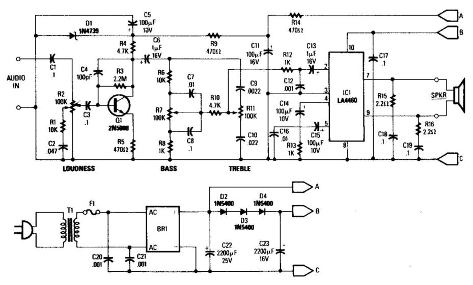 electronics projects  5w audio amplifier with ac power