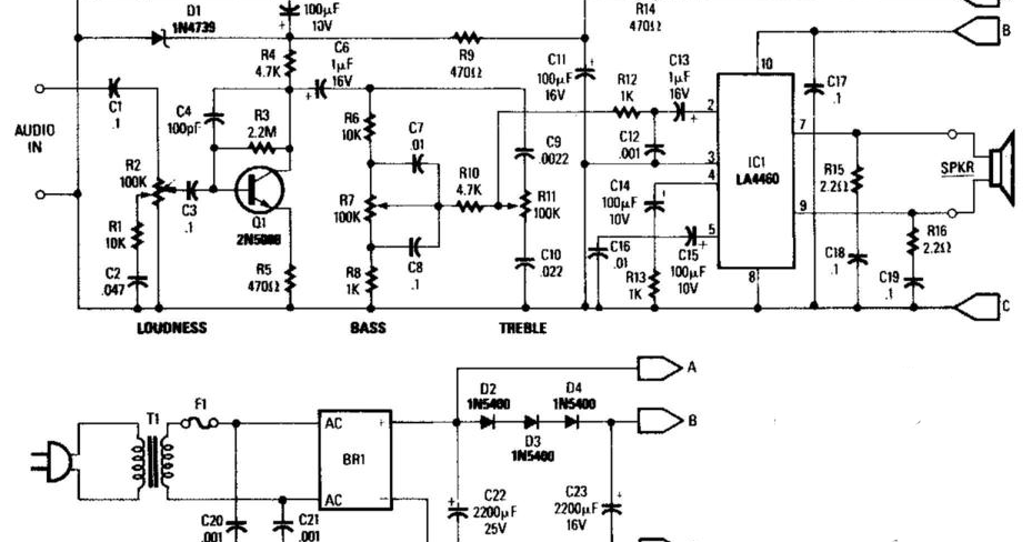 wiring  u0026 diagram info  5w audio amplifier with ac power supply