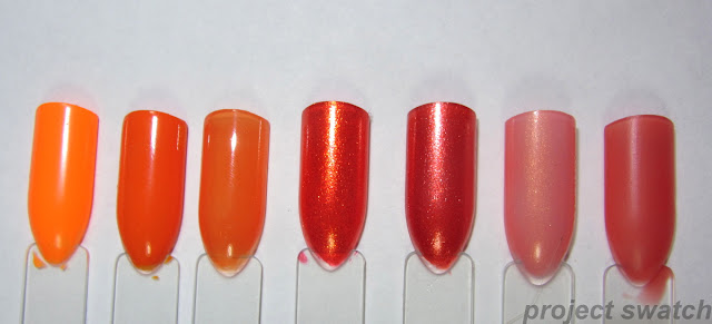swatches - 1- Kleancolor Mango, 2- Sinful Colors Clementine, 3- OPI Y'all Come Back Ya Hear?, 4- China Glaze Riveting, 5- Zoya Myrta, 6- NYC Peach Sparkle, 7- Revlon Just Tinted Dawn