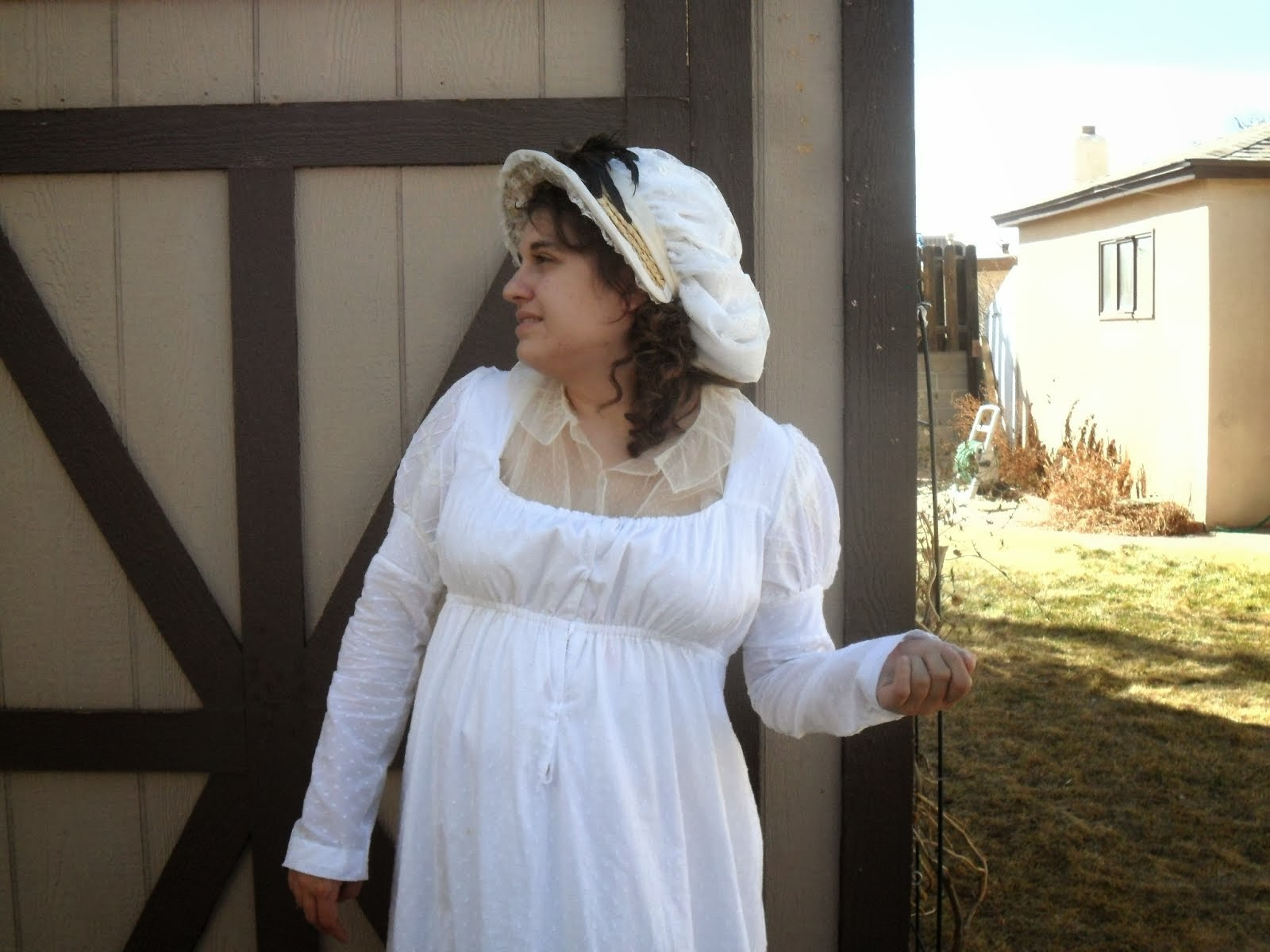 White Regency Era Drawstring Gown