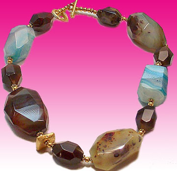 Multi collored Agate gemstone necklace with 23.75k gold leaf on Turquoise stone