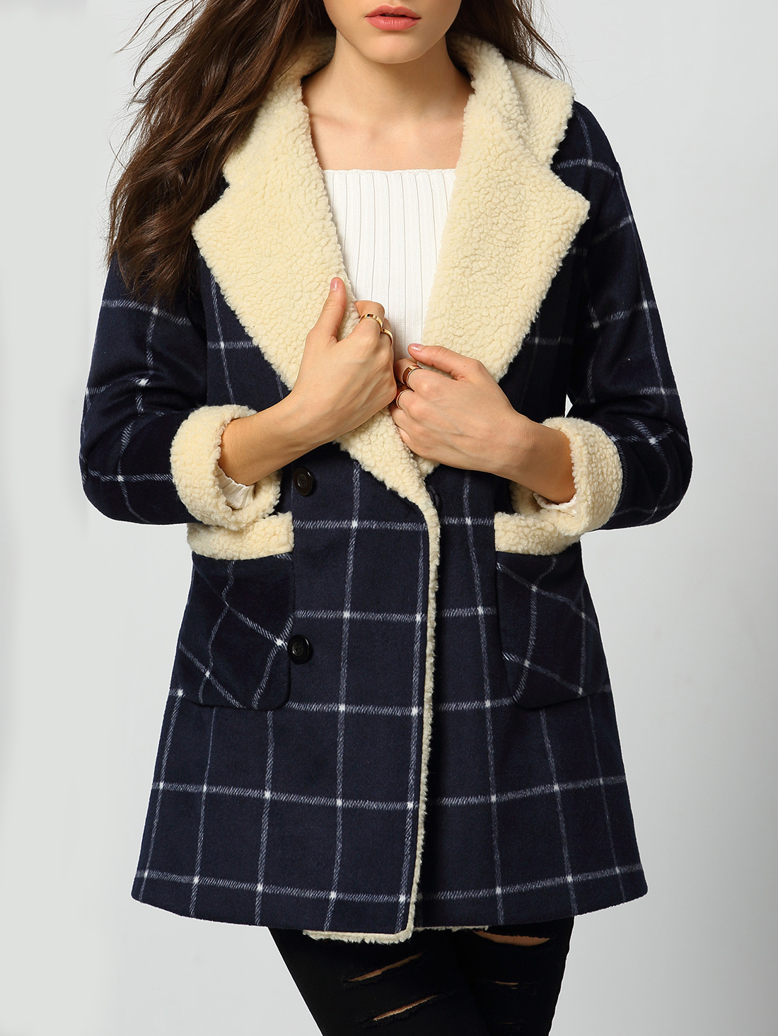 Navy Lapel Plaid Pockets Woolen Coat