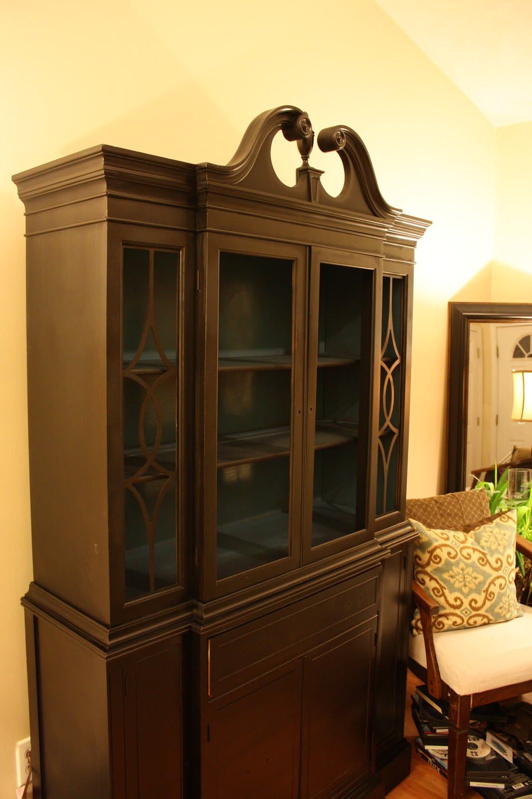 Living Room Updates: Spray Painted China Cabinet Makeover - FEARFULLY ...