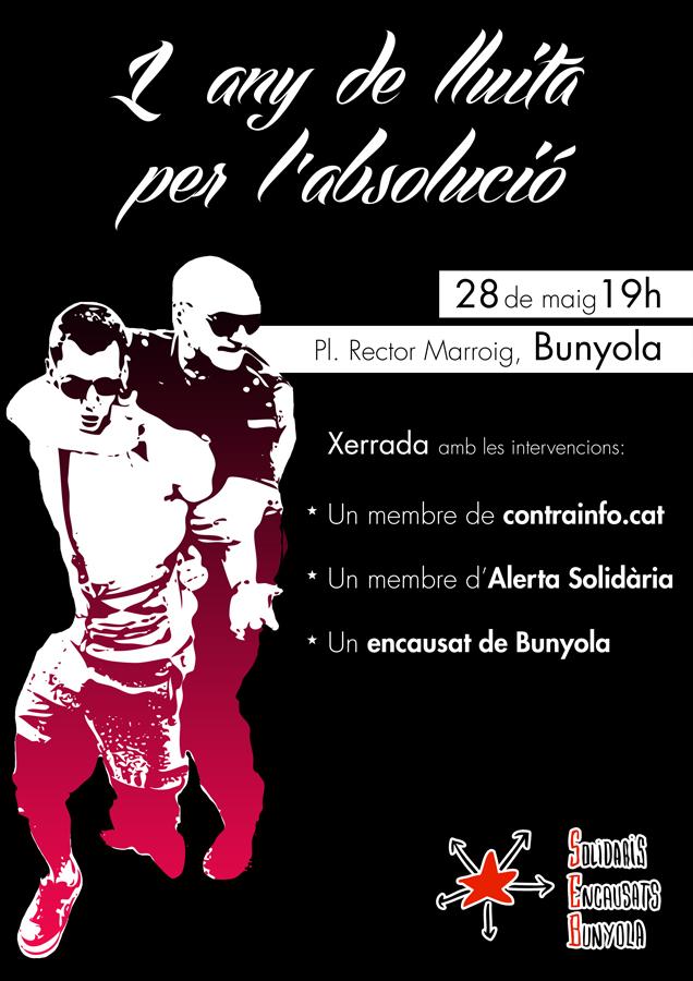1 any de lluita per l'absolució. Solidaris Encausats Bunyola (28-05-13)