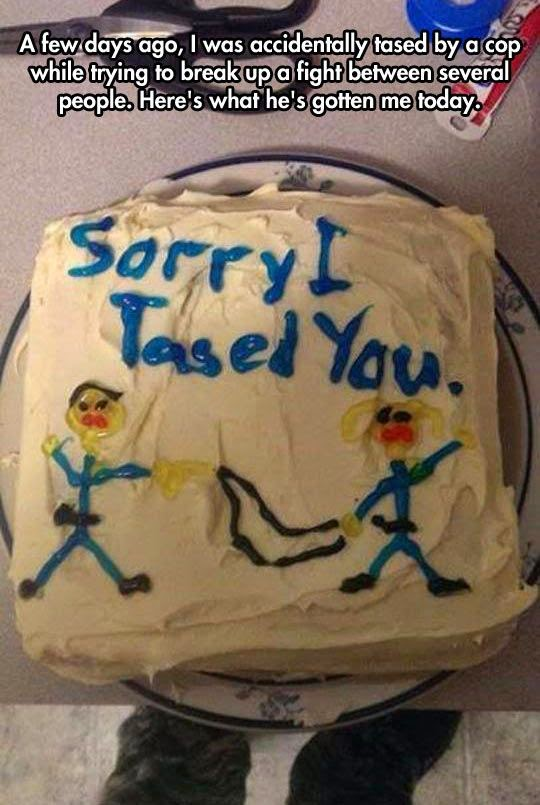 cop cake, police cake, funny cake, cake wreck, sorry i tased you, don't tase me bro