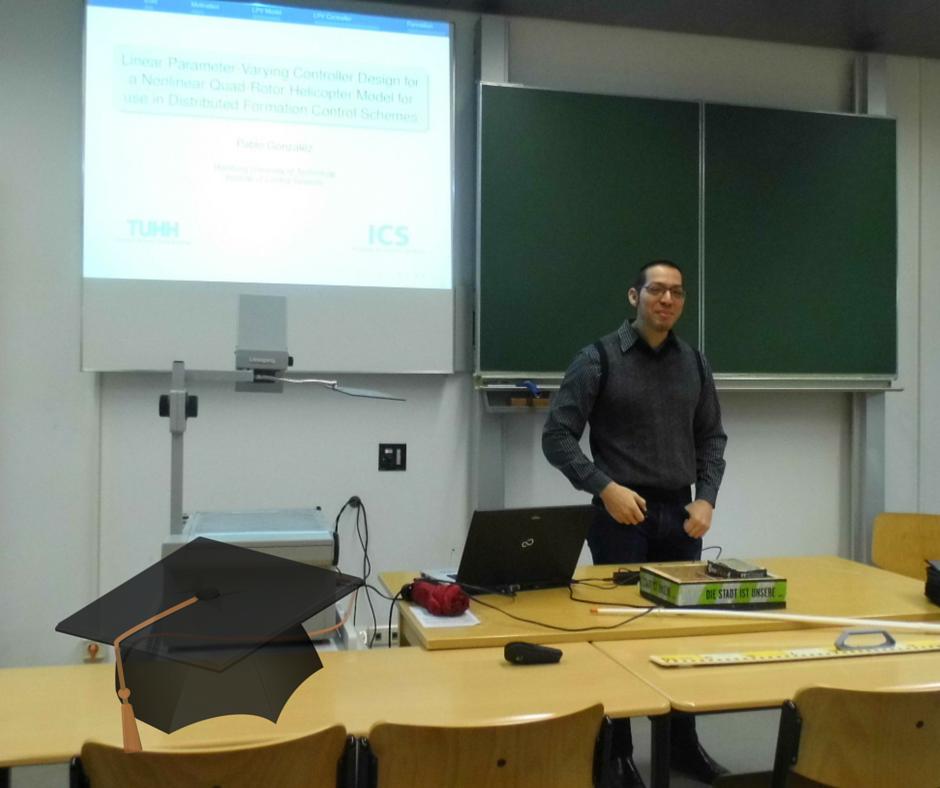 at his Master Thesis presentation