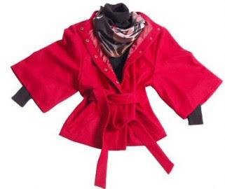 Yeni sezon 2011-2012 model beli kuşaklı kırmızı bayan ceket