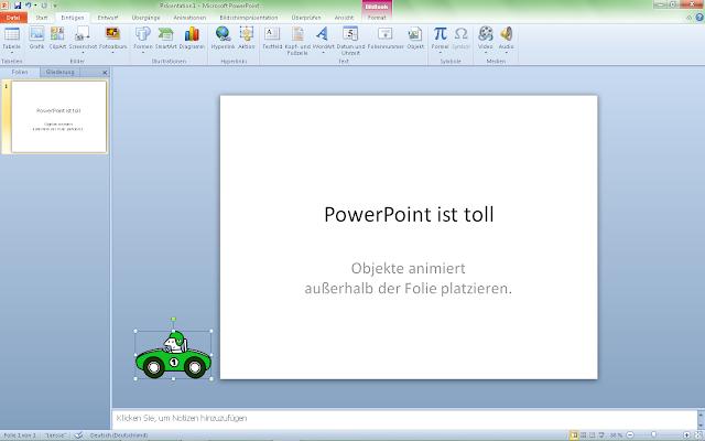 PowerPoint 2010 - ClipArt ausserhalb der Folie platzieren
